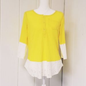 Yellow blouse, striped, half button, eyelet spring